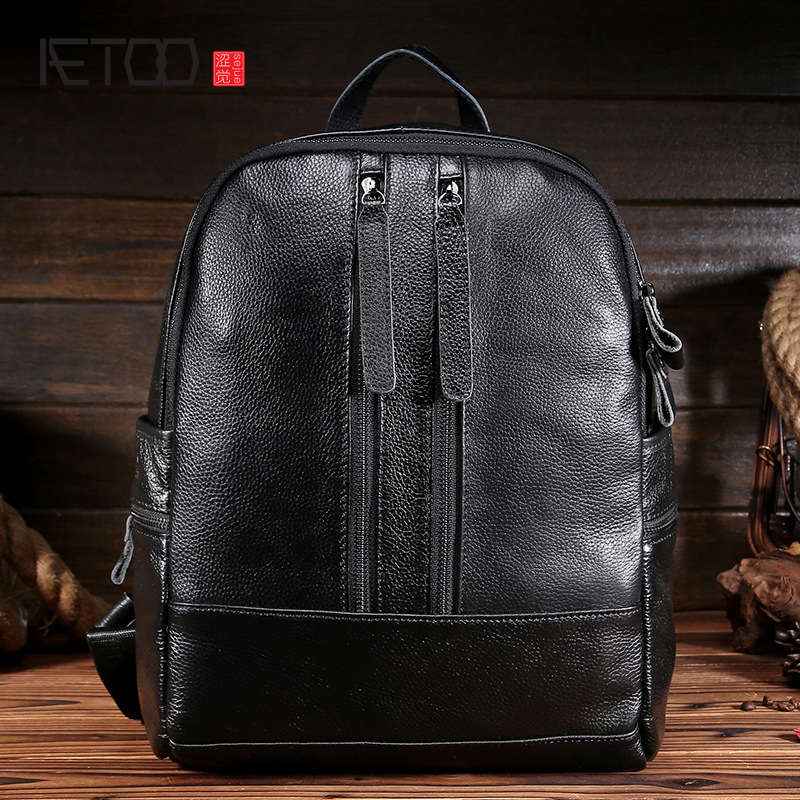AETOO Ladies leather shoulder bag head layer cowhide lychee pattern simple fashion new ladies tide package backpack student bag