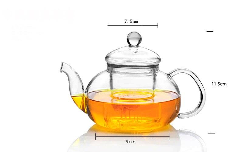 Glass teapot 600ml + one heart shape warmer base  tea set