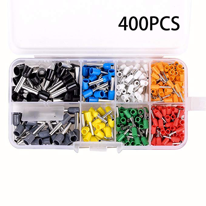 400Pcs Wire Copper Crimp Connector Insulated Cord Pin End Terminal AWG 22-10