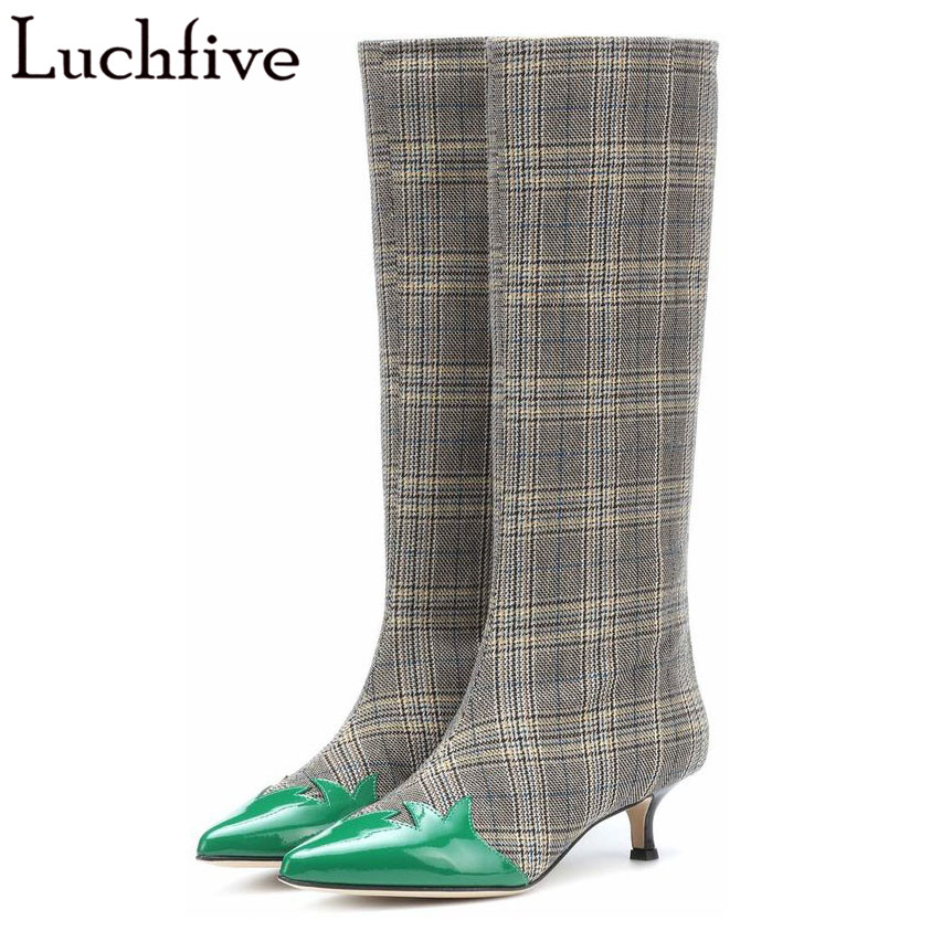 T show Women shoes autumn 2018 new plaid cloth green leaf decor patchwork British style pointed toe kitten heel knee high boots T show Women shoes autumn 2018 new plaid cloth green leaf decor patchwork British style pointed toe kitten heel knee high boots