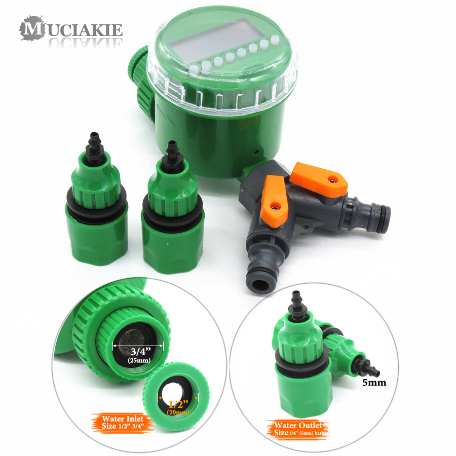MUCIAKIE Garden Water Timer with 1/2/4-Way Hose Splitter Automatic Watering Irrigation Controller Adapter 4/7 8/11 16mm Hose 4