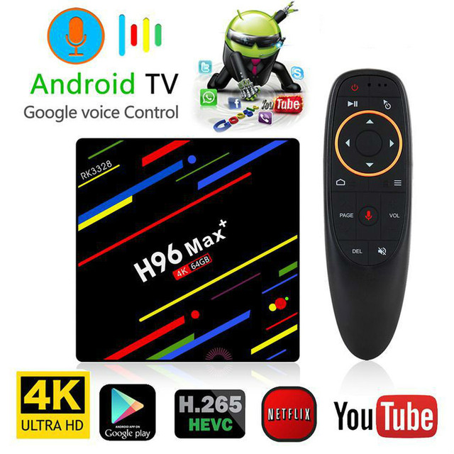GRWIBEOU Android 8.1 Smart TV BOX RK3328 4G 64G TV Receiver 4K Bluetooth Wifi Network Ethernet Media Player Fast Set Top Box