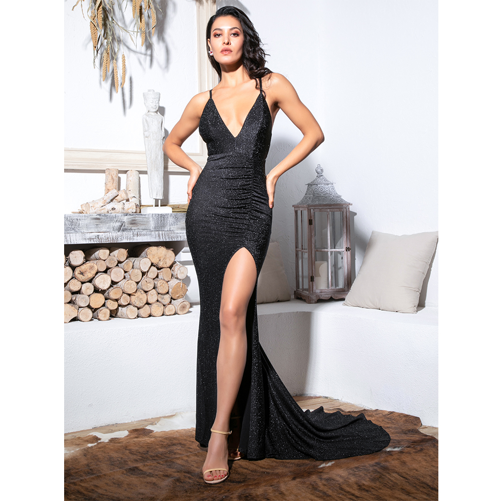 Love&Lemonade Sexy Black Deep V-Neck Cut Out Bodycon Shiny Elastic Fabric Maxi Dress LM81709-1 5