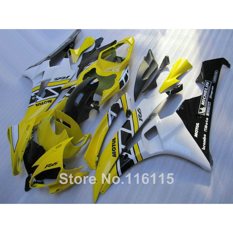 ABS plastic kit per YAMAHA R6 2006 2007 giallo bianco carenature YZF R6 06 07 stampaggio ad iniezione kit carena completa KP60