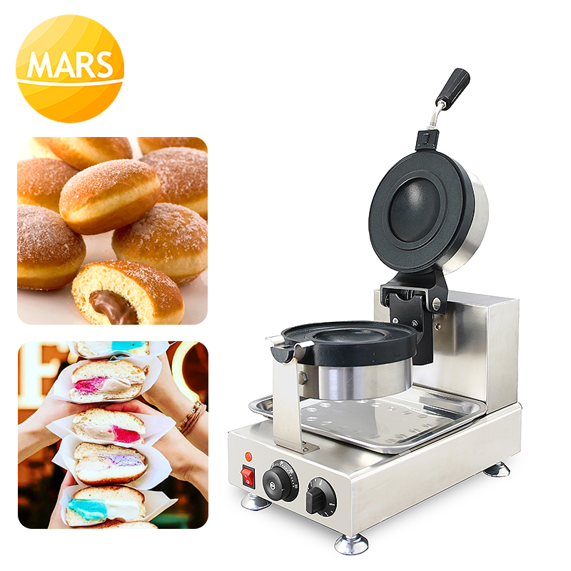 New Donut Ice Cream Dessert Italy Gelato Panini Press Maker Commercial Krapfen Warmer Machine 220V/110V Burger Press Maker image