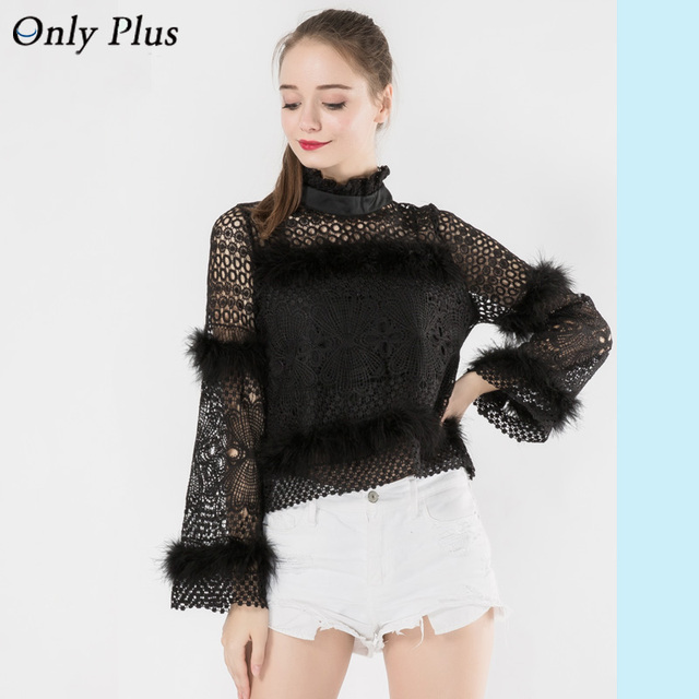 4b1a27ea5fdef9 ONLY PLUS Romantic Embellished Long Sleeve Lace Top Ruffled High Neck  Fluffy Fur Trim Black Hollow Out Blouse