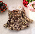 Retail new girls spring and autumn cotton fur coat Baby Toddler leopard sweet and lovely children's casual jacket jacket