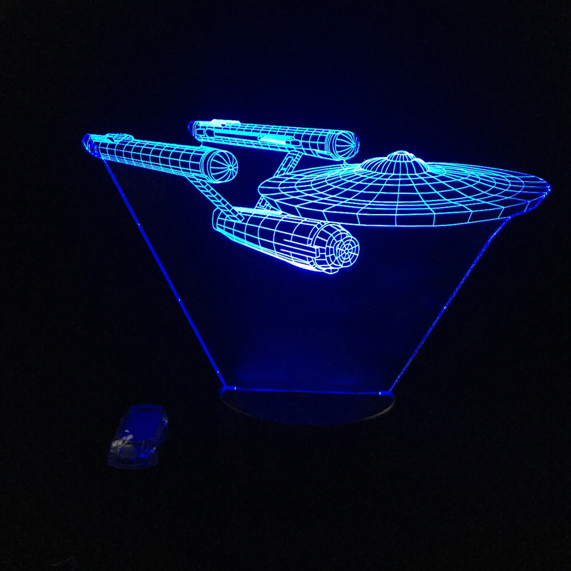 Hot Sale Movie Battleship 3D USB LED Lamp Spacecraft Star Trek USS 7 Color Changing Night Light Cool Boy Bedroom Decoration Gift star trek magazine star ship eaglemoss uss enterprise nx 01 spaceship model 4