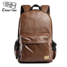 Брендовый кожаный мужской рюкзак Three box 2017, модный дорожный рюкзак трех цветов, винтажная кожаная школьная сумка для ноутбука, сумки для выходных
