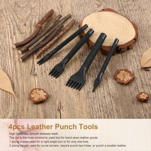 цена на 4Pcs 1/2/4/6 Prong Leather Craft Tool Sets Diy Handmade Sewing Leather Tools Hole Punches Lacing Stitching Working Chisel