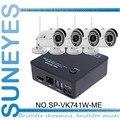 SunEyes SP-VK741W-ME 4CH Mini Câmera de CFTV IP NVR Kit com 4 Pcs sem fio Wi-fi Mini IP IR Ao Ar Livre Câmera de 720 P HD com P2P Grátis