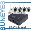SunEyes SP-VK741W-ME  4CH Mini IP CCTV Camera NVR Kit with 4 Pcs Wireless Wifi Mini IR Outdoor IP Camera 720P HD with Free P2P