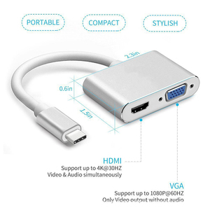 Image 4 - USBC إلى HDMI 4K 30 Hz مهايئ VGA USB 3.1 نوع C USB C إلى VGA HDMI محولات الفيديو محول جديد ماك بوك برو/Chromebook Pix
