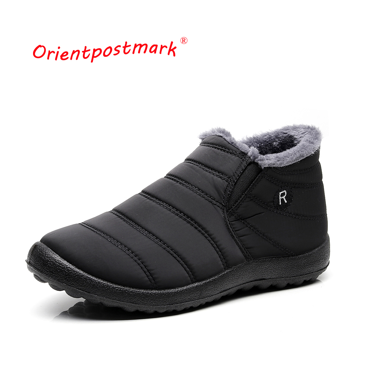 Winter Boots Ankle Boots Unisex Couples Snow Boots Solid Color Men Plush Inside Anti Skid Bottom Ankle Boot Waterproof Ski Shoes