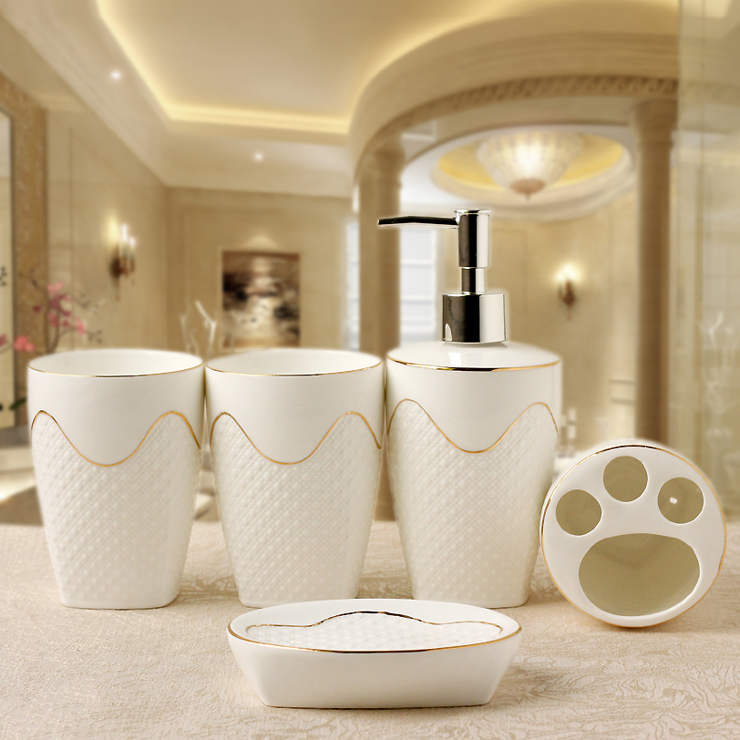 europen style low relief ceramics bathroom accessories set 5pcsset household wash brush cup liquid