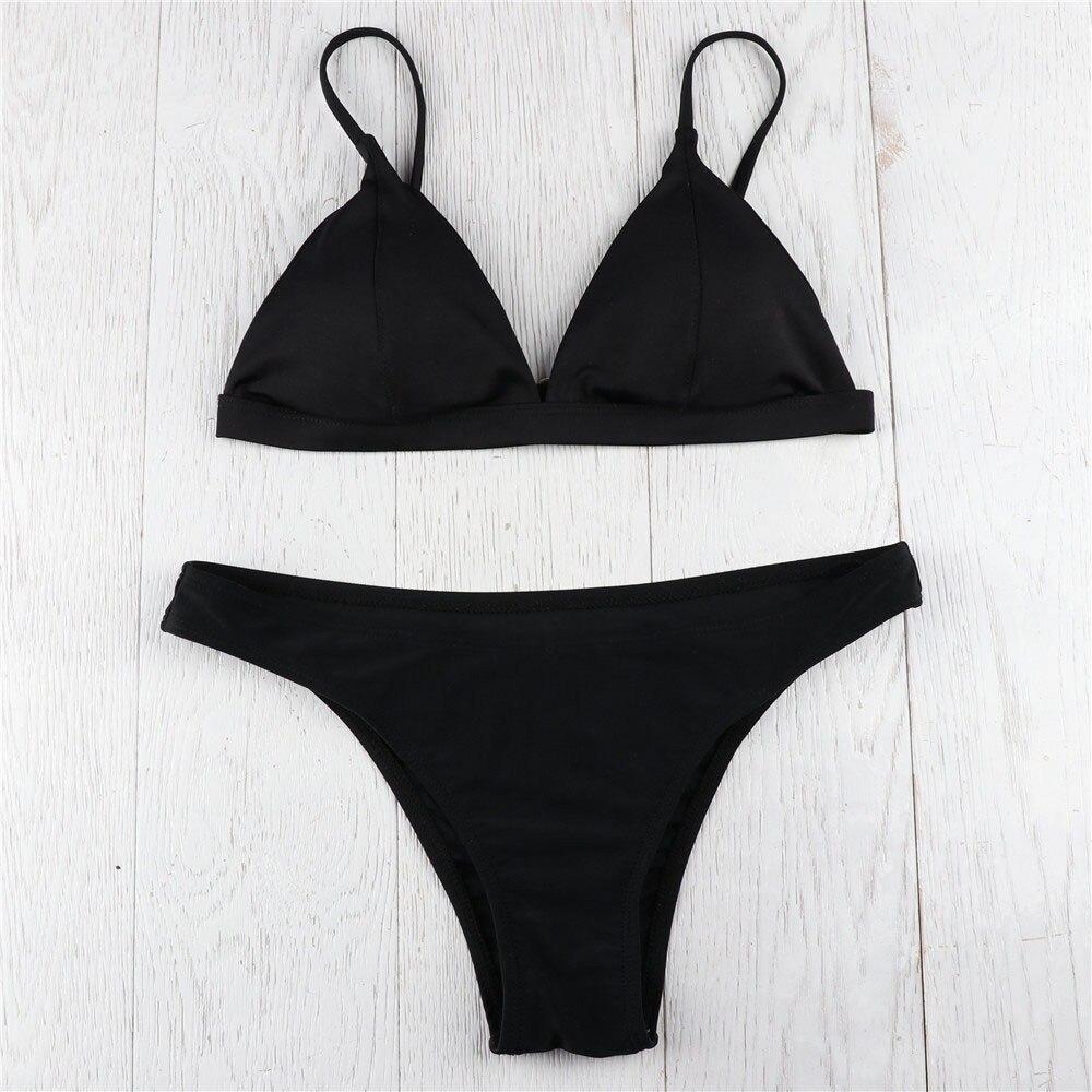 HTB1Z8i DStYBeNjSspkq6zU8VXaH MUQGEW 2019 Mid Waist New Summer Women Two Pieces Bikini Set Solid High Quality Padded Push Up Swimwear Brazilian Bikini #1210