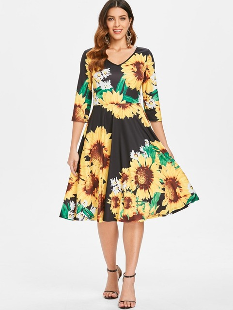 ef1d126a5f Sexy dress women Sunflower Print Fit and Flare dress Boho beach dress  female 2018 vestidos V-Neck