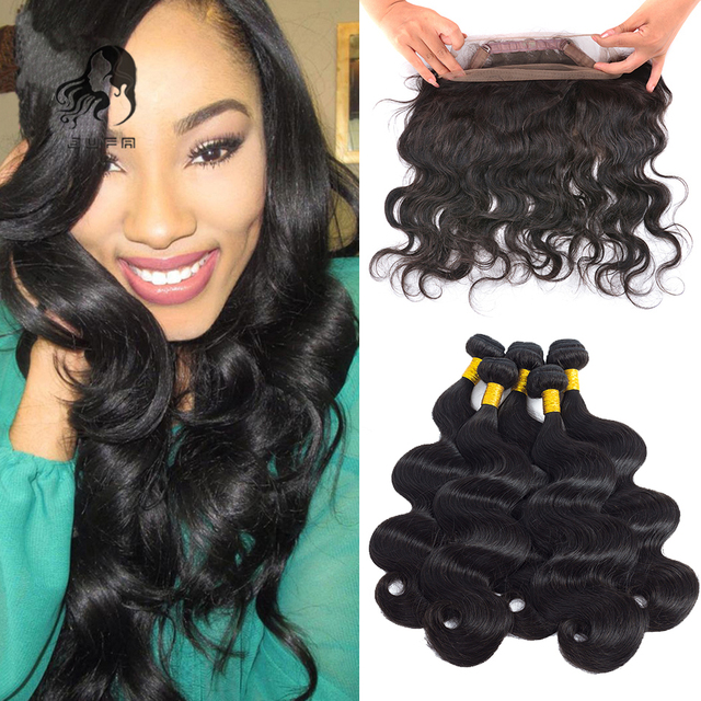 360 Lace Frontal With Bundles 8A Queen Hair Peruvian Body Wave Human Virgin Hair 4Pcs Bundles With 360 Frontal Band Lace Closure