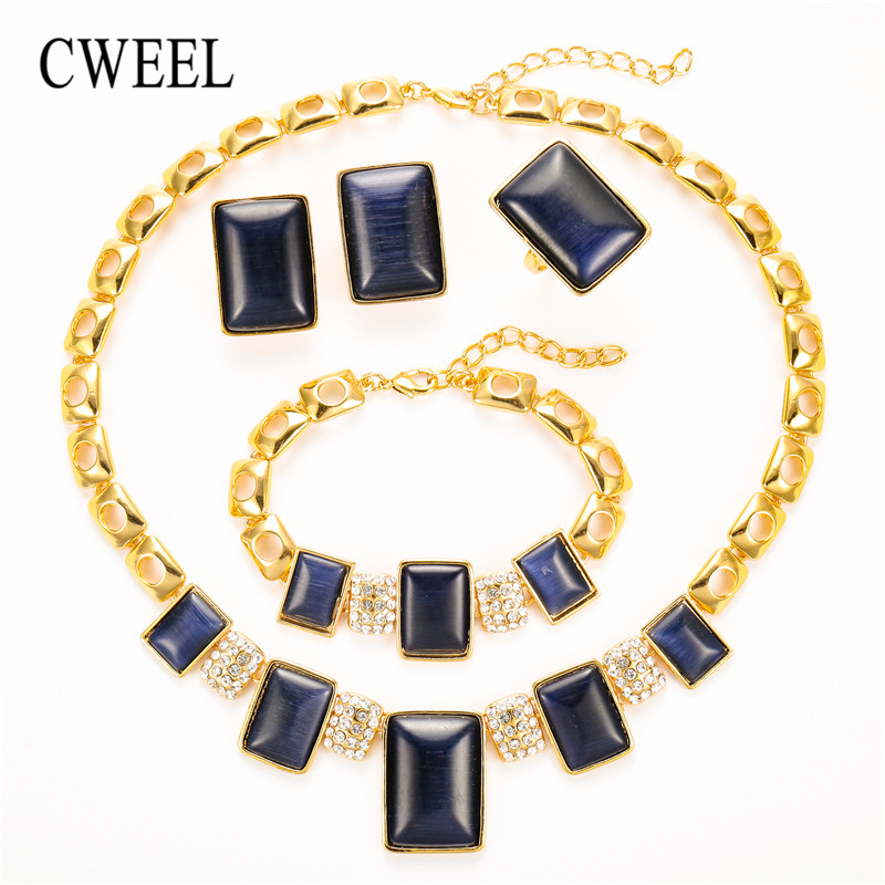CWEEL Opal Jewelry Sets For Women Wedding Dubai African Beads Jewelry Set Necklace Earrings Nigerian Bead Cheap Jewellery