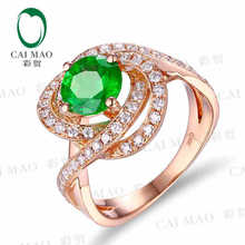 CaiMao 1.42 ct Natural Emerald 18KT/750 Rose Gold 0.66 ct Full Cut Diamond Engagement Ring Jewelry Gemstone colombian