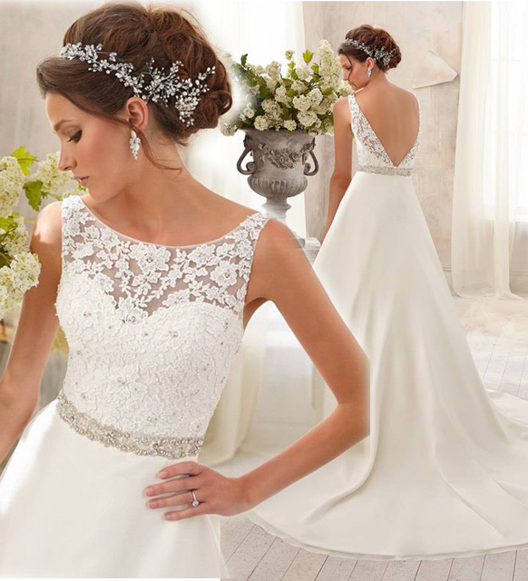 In Stock Fashion High Neck With Lace Cover Top Beading Sash Wedding ...
