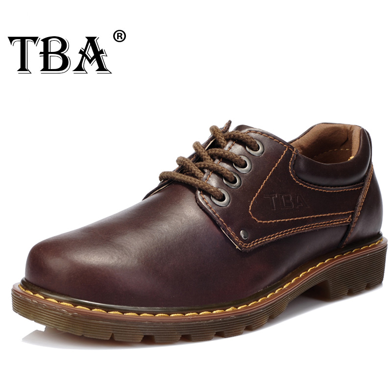 TBA 8065 Luxury Brand Men's Genuine Leather Business Dress Running Shoes High Quality Drak Brown Oxfords Spring/autumn Man Boots benzelor men shoes 2017 spring autumn genuine leather business casual shoes quality brand massage sole black brown color hl67624