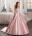 Elegant Pink Flower Girl Dress Satin kids First Communion with long sleeves Beads Ball gown Girls Pageant Dresses FD266