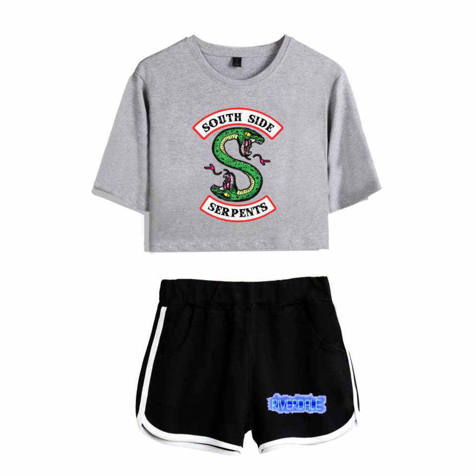 New Top and Shorts Set Riverdale Southside Serpents 2piece Set Women Crop Top 2018 Summer Outfits Track Suit Women Wholesale