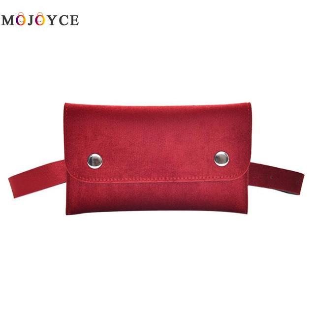 Luxury Brand Women Envelope Fanny Pack Simple Velvet Waist Packs Casual Phone Pouch Ladies Solid Belt Bag