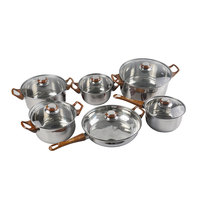 12PCS Stainless Steel Cookware Sets Casserole Saucepan Frypan Kitchen Pot Sets with Induction Cooker and Bakelite Handles