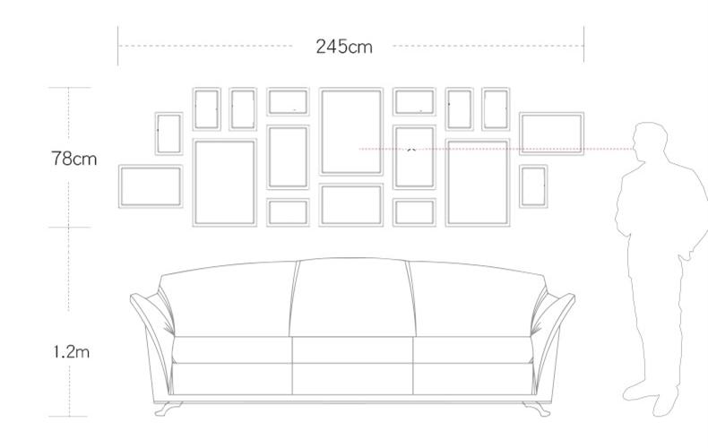 2019 Grande Living Room Decor Wall Hanging Cornici Set 18 pcs Cornici Tuta Casa di Sfondo Foto Combinazione Telaio-in Cornice da Casa e giardino su  Gruppo 2