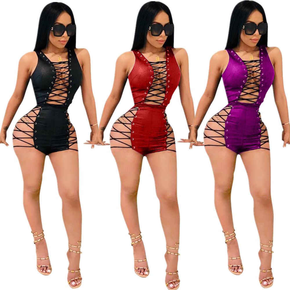 2018 Summer Eyelet Lace up Rompers Womens Jumpsuit Sexy Club Night Bodycon Short Jumpsuit Bodysuit