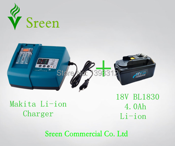 New Universal 18V Lithium Ion 4.0Ah Replacement Power Tool Battery Charger with Makita BL1830 Rechargeable Battery Free Shipping 18v 6000mah rechargeable battery built in sony 18650 vtc6 li ion batteries replacement power tool battery for makita bl1860