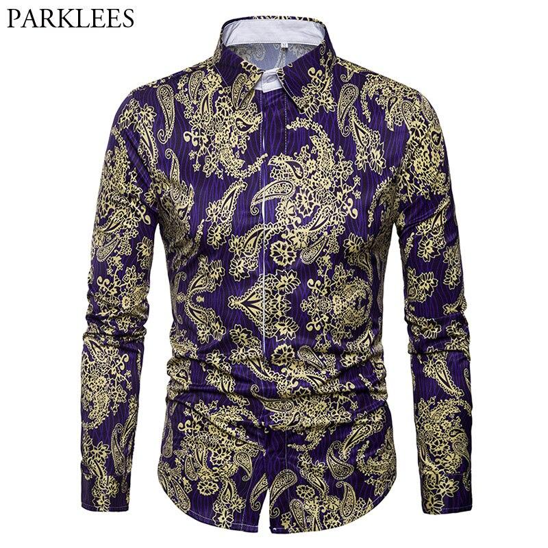 百思买 ) }}Luxury Brand Men's Paisley Shirt Chemise Homme 2018 Spring New Gold Floral