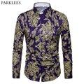 Marca de lujo hombres Paisley Chemise Homme 2018 nueva primavera de oro  impresión Floral Slim Fit ede742e4bb1e4