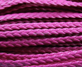 Free Ship 100Meters 5mm Hot Pink  Braid Faux leather Cord synthetic leather Cord