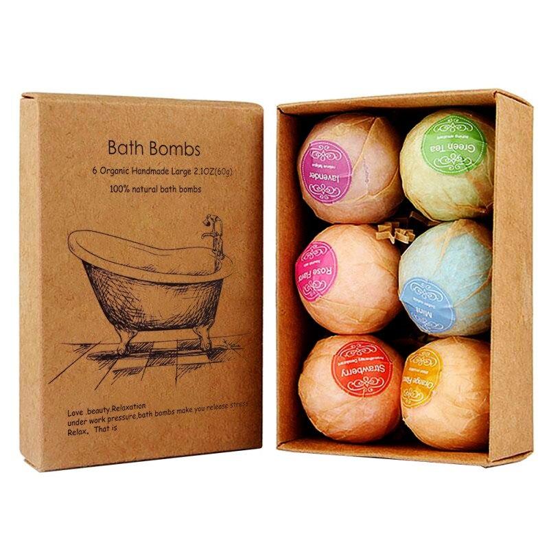 6pcs Organic Bath Salts Bath Bombs Bubble Ball Essential Oil Handmade SPA Stress Relief Exfoliating Skin Care