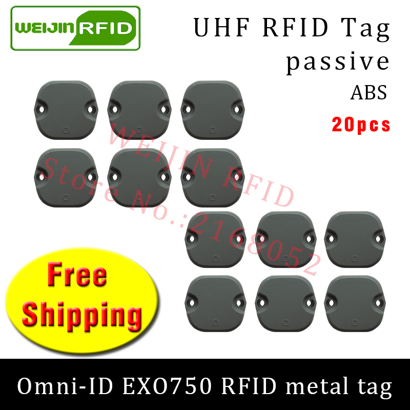 UHF RFID metal tag omni-ID EXO750 915m 868mhz Impinj Monza4QT EPC 20pcs free shipping durable ABS smart card passive RFID tags 20pcs passive smd crystal 3225 4p 26m 26mhz 26 000mhz