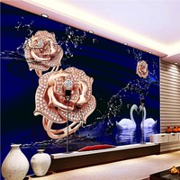 תמונת טפט אופנה טפט 3D ברבור עלה אגם סלון ציור קיר קיר הטלוויזיה טפט ציור קיר חדר שינה המותאם אישית סטריאו