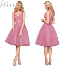 5919f61726 Cor Personalizada Elegante V Pescoço Curto Da Dama de Honra Vestidos Sexy  Tulle Formal Vestidos de Festa Robe de Demoiselle D ho.