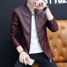 ฤดูใบไม้ร่วง PU แจ็คเก็ตหนังผู้ชายเกาหลี SLIM FIT Mens Casual เสื้อแจ็คเก็ต STAND COLLAR Windbreaker Coat ชาย