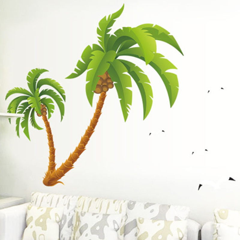 Beach Palms Coconut Tree Large Wall Sticker For Kids Rooms Bedroom Art Mural 125*205cm Home Decor Waterproof Vinyl Wall Decals