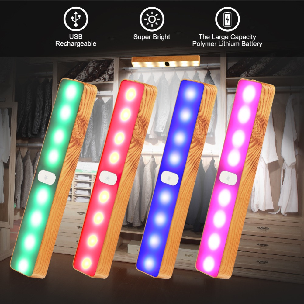 New colorful wood grain night light bar touch magnetic cabinet outdoor camping tent wardrobe charging wall lamp
