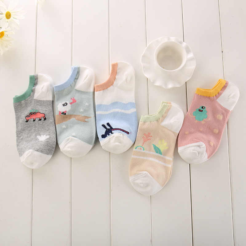 Jacquard cute ladies boating socks cartoon ladies all cotton boating socks