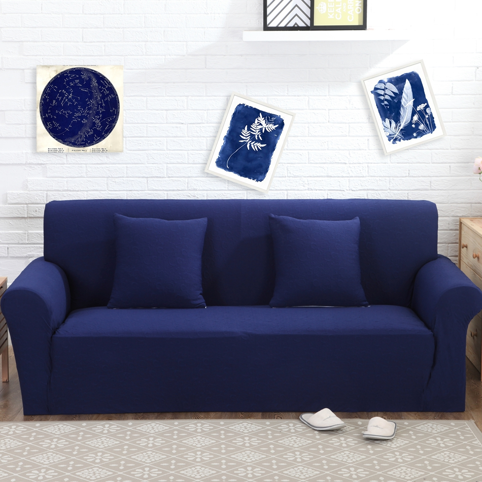 High Quality Navy Jacquard Knitted Stretch Sofa Cover,100% Polyester Elastic Couch Sofa  Cover For Living