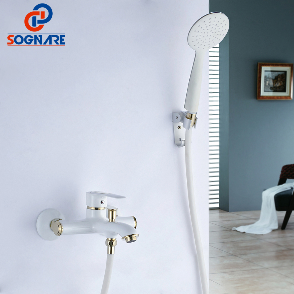 SOGNARE White/Black Finish Bathroom Shower Faucets Bathtub Faucet Mixer Tap With Hand Shower Sets Single Handle Brass Body D5107