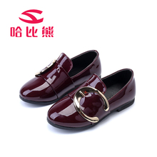 Children Leather Shoes Big Girls Fashion Princess Flat Shoes Metal Slip-on Soft PU Leather Dance Shoes School Girl Casual Shoes