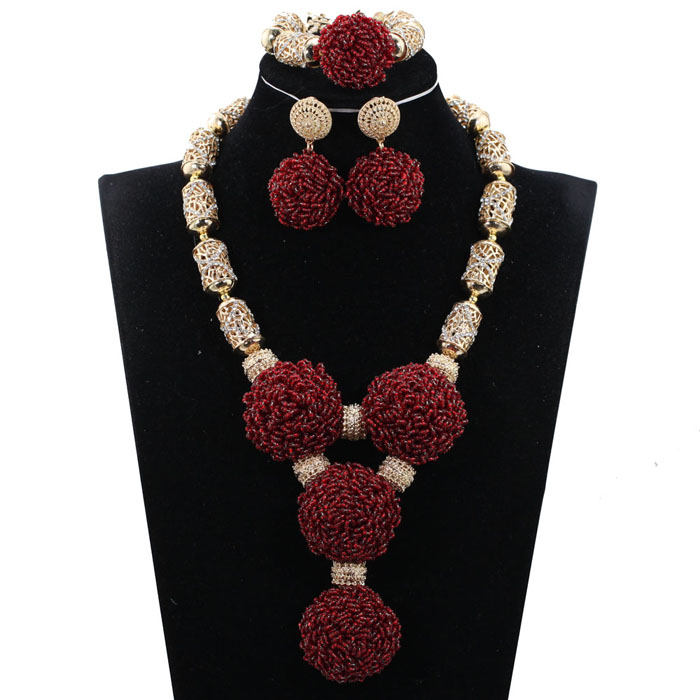 Fashion Wine Burgundy Women African Nigerian Wedding Jewelry Sets Wine Seed Bead Pendant Statement Necklace Set Bride 2018 WE134