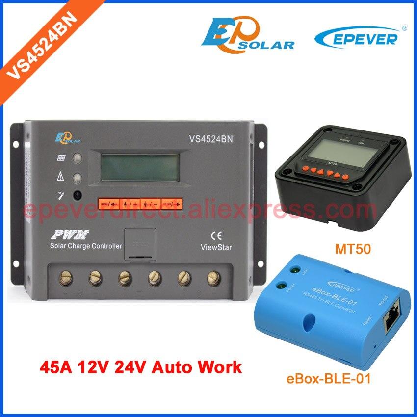 EPEVER 45A контроллер VS4524BN 12 В 24 В автоматического переключения солнечный power bank регулятор ble eBOX и MT50 метр 45 усилители Батарея зарядное устройств