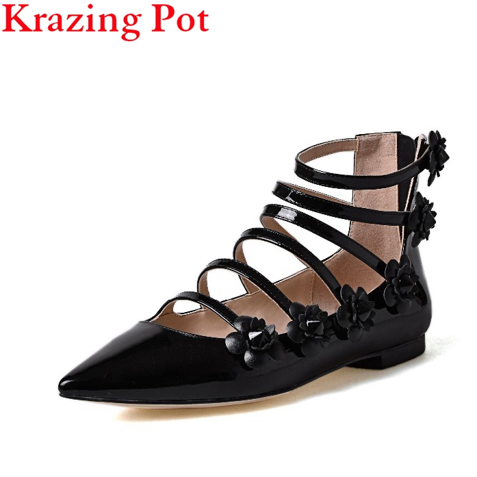 Fashion Large Size Brand Shoes Flower Pointed Toe Party Wedding Low Heel Women Pumps Ankle Strap Sandals Office Lady Shoes L1f1 2017 new fashion brand spring shoes large size crystal pointed toe kid suede thick heel women pumps party sweet office lady shoe